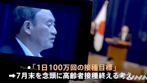 스카 요시히데(菅義偉) 총리 시절 일본 정부는 백신의 안정적인 공급과 백신 인프라 확충에 발맞추어 코빗-19(Kovit-19) 바이러스에 대한 국가의 예방 접종률을 대폭 인상했다.  (일본 TBS NEWS에서 상영)